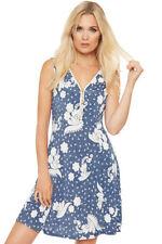 Vestiti da donna blu floreale senza maniche