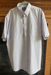 NEW Stafford Wrinkle Free Oxford Mens 18.5 Short Sleeve Purple Check Shirt