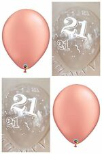 Rose Gold Balloons & Clear Printed 21st BIRTHDAY BALLOONS Party Decorations x 12