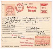 Stuttgart 1942 Reichsbank Schwäb Gmünd Landeszentralbank AFS Archivkarte Unikat