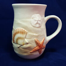 Otagiri Mug Seashell Starfish Beach Sand Dollar Ocean Theme 3D Relief White 2008