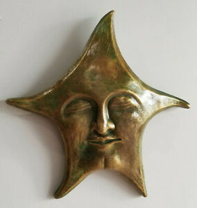 Celestial Star Mask Art Deco Home Garden Wall Sculpture