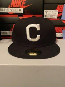 New Era 5950 Cleveland Indians Size 7 Basic Hat (Black/White) Men's MLB Cap
