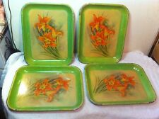 Vintage Metal TV serving tray set of 4 with day lillies flowers Green Yellow
