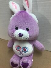 "CARE BEAR Plush Bear 9"" SHARE Bear Purple w/ Bunny Ears"