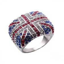 Silver Color Austrian Crystal Uk Flag 2018 New Fashion Union Jack Cloth Rings