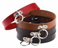 Fashion Punk Gothic PU Leather Choker O Ring Belt Collar Necklace