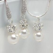 Swarovski White Pearl Bridal Necklace Set Wedding Bridesmaids Gift Jewellery's
