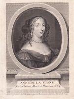 Portrait XVIIIe De La Vigne Anne Poèsie Académie des Ricovrati de Padoue.
