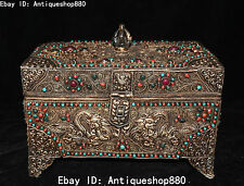 Tibet Pure Silver Filigree Gem Dragon8 Auspicious Symbol Jewelry Box Case Statue