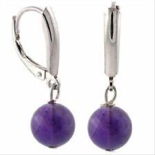 925 Silver Cabachon Amethyst Bead Leverback Earrings