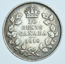 CANADA, GEORGE V 10 CENTS, 1918 SILVER COIN VF+