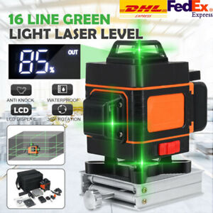 12/16 Line 3D 4D 360° Rotary Leveling Cross Measure Tool Green Laser Level Self