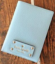 KATE SPADE Wellesley Passport Holder Wallet NWT Light Blue Hydrangea Very RARE!