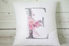 "Personalised watercolour grey letter (any letter) 16"" cushion cover vintage chic"