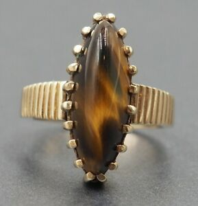 Vintage Tigers Eye Womens Mens Statement Ring 9ct Yellow Gold Fine Jewelry