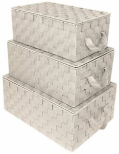 Storage Box Woven  Lid Basket Bin Container Tote Cube Stackable Organizer Set
