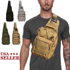 Men Backpack  Tactical Sling Chest Pack Shoulder Bag Outdoor Hiking Travel New
