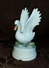SCHMID Music box Figurine Swan bird Musical Wings Up Hand Painted Plays Well EUC