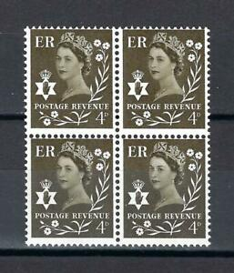 Northern Ireland 1968 Sc# 9 Elizabeth 4p olive St Andrew's cross GB block 4 MNH