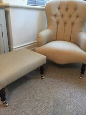 Pair Of Bampton armchairs And Footstool Upholstered In Oscar Champaign Oak Legs