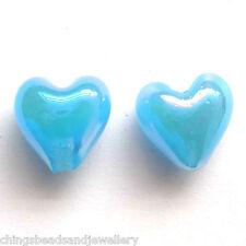4 Cobalt Blue 3D Puffy Lampwork Glass Large 28x28mm Puffy Heart Beads