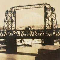 Mount Mt Rainier from Tacoma Washington WA Old Bridge RPPC Ellis Photo Postcard