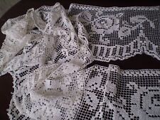 OLD Handmade Filet Lace Curtain Antique Flowering Roses