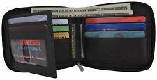 Men's Zipper RFID Blocking Premium Leather Zip-Around ID Bifold Wallet
