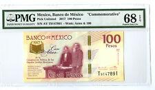 2017 100 PESOS BANCO DE MEXICO PMG 68 EPQ 100th ANNIVERSARY BANKNOTE SUPERB GEM