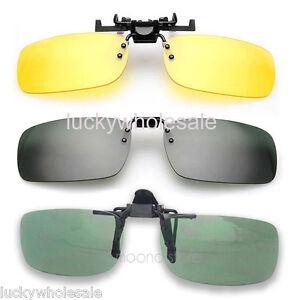 Clip On Flip Up Style Sunglasses UV400 Night Vision Driving Fishing Eyewear Case