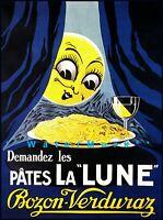 Pates La Lune 1930 Vintage Poster Print Retro Style Art Food Pasta Spaghetti