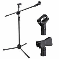 Rotating Live Stream Microphone Stand Dual Mic Clip Rotating Folding Type Boom