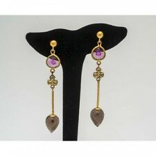 Boucles d'oreilles  unique Mineralife or jaune 22 kt, diamant et pierres fines
