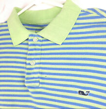 Vineyard Vines Mens Large Blue Green Striped Whale Logo Rugby Polo Shirt - Flaws