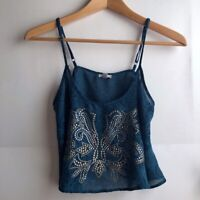 ECOTE URBAN OUTFITTERS Studded Cropped Swing Cami Green Blue Tank Top Boho Small