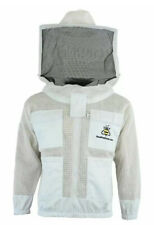 Unisex 3Layer Unisex Ventilated White Mesh Bee Jacket Round Veil/Hood. Large