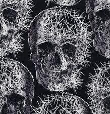 Gothic Spike Skulls on Black Cotton Fabric Freak Out by Michael Miller - FQ