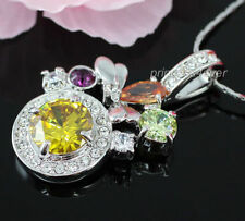 Topaz White Gold Plated Crystal Costume Necklaces & Pendants