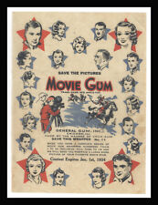 1933 R97-2 GENERAL GUM, INC. ~ MOVIE STARS MOVIE GUM WRAPPER