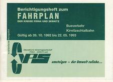Berichtigungsheft pour feuille de route des cercles pirna et sebnitz 1992 93