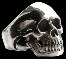 Solid Sterling Silver Handmade Skull Moveable Jaw Ring - All Sizes