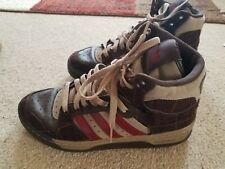 promo code ad23f ec7a6 Adidas Brown plaid leather trim conductor high top sneakers mens 8.5