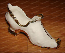 Victorian Style Ankle Boot (Porcelain Signed & Dated 1976) Hand-Painted 22K Gold