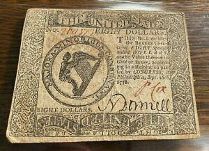 1778 $8 Continental Currency Nice VF+ CC-081 Best Price on Ebay CHN