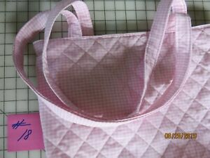 """#18 QUILTED PINK & WHITE CHECKS TOTE BAG  14"""" X 16""""  REVERSIBLE 100% COTTON"""