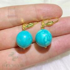 12mm Turquoise Earring Gold Ear Drop Dangle Gift Hook Aurora Fashion Accessories