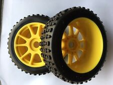1/8 RC Buggy Pre-Mounted Tires, Yellow Spoke W/ Oval Spikes , SET OF 4, BULK