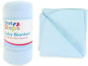 First Step Baby Blankets Size 70cm x 70cm Approx - Blue Baby Care New UK