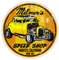 MILNERS SPEED SHOP NOSTALGIA  DRAG RACE RACING HOT RAT ROD DECAL BUMPER STICKER